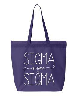 Sigma Sigma Sigma New Handwriting Tote Bag
