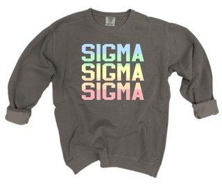 Sigma Sigma Sigma Pastel Rainbow Crew - Comfort Colors