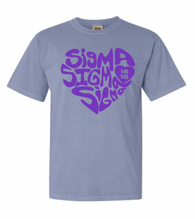 Sigma Sigma Sigma Piece of My Heart Sorority Comfort Colors T-Shirt
