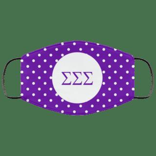 Sigma Sigma Sigma Polka Dots Face Mask