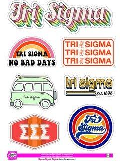 Sigma Sigma Sigma Retro Sticker Sheet