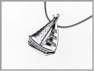 Sigma Sigma Sigma Sailboat Silver Lavalier