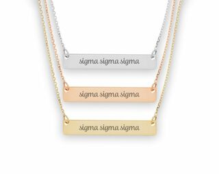 Sigma Sigma Sigma Script Bar Necklace