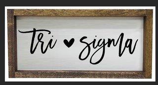 Sigma Sigma Sigma Script Wooden Signs