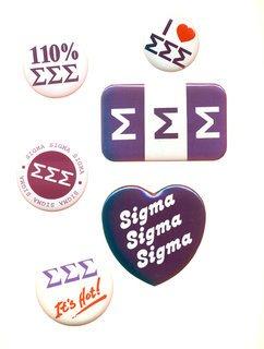 Sigma Sigma Sigma Sorority Buttons 6-Pack