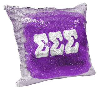 Sigma Sigma Sigma Sorority Flip Sequin Throw Pillow Cover