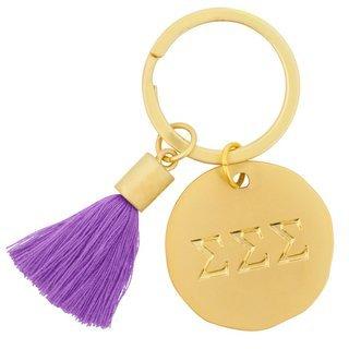 Sigma Sigma Sigma Sorority Tassel Gold Key Chain