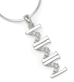 Sigma Sigma Sigma Sterling Silver Lavaliere set with Lab-Created Diamonds
