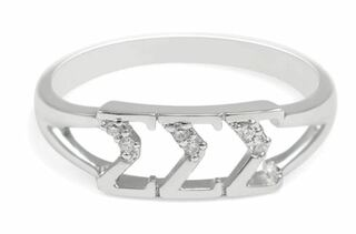 Sigma Sigma Sigma Sterling Silver Ring set with Lab-Created Diamonds