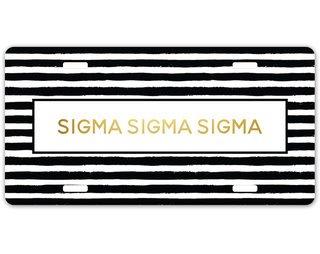 Sigma Sigma Sigma Striped Gold License Plate