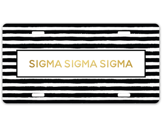 Sigma Sigma Sigma Striped Gold License Plate