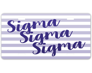 Sigma Sigma Sigma Striped License Plate