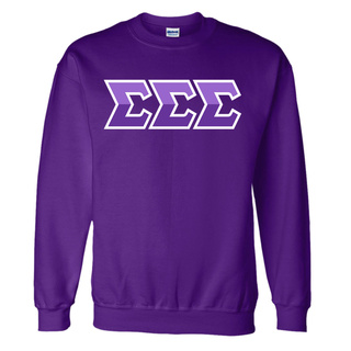 Sigma Sigma Sigma Two Tone Greek Lettered Crewneck Sweatshirt