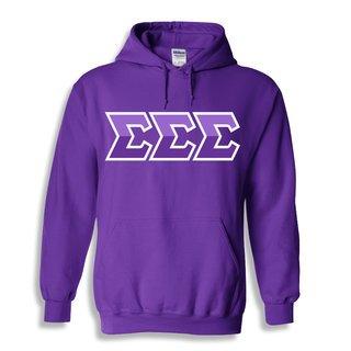 Sigma Sigma Sigma Two Tone Greek Lettered Hooded Sweatshirt