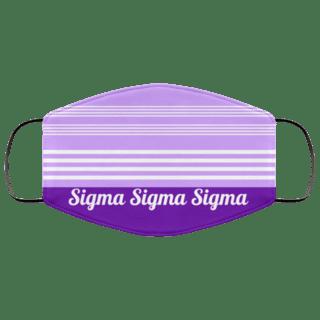 Sigma Sigma Sigma Two Tone Stripes Face Mask