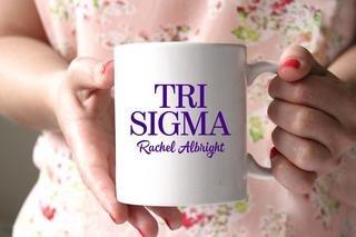 Sigma Sigma Sigma White Mascot Coffee Mug