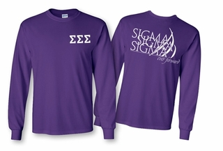 Sigma Sigma Sigma World Famous Crest Long Sleeve T-Shirt- MADE FAST!