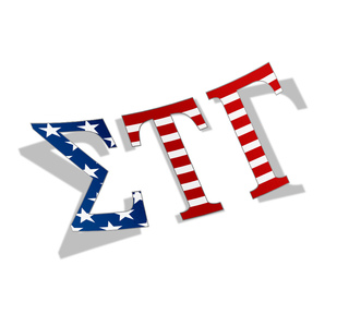 "Sigma Tau Gamma American Flag Greek Letter Sticker - 2.5"" Tall"