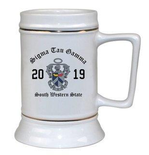 Sigma Tau Gamma Ceramic Crest & Year Ceramic Stein Tankard - 28 ozs!