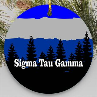 Sigma Tau Gamma Christmas Mountains Round Ornaments