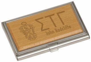 Sigma Tau Gamma Crest Wood Business Card Holder