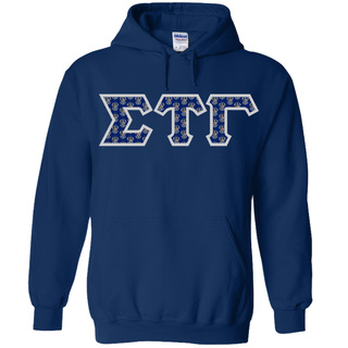 Sigma Tau Gamma Fraternity Crest - Shield Twill Letter Hooded Sweatshirt
