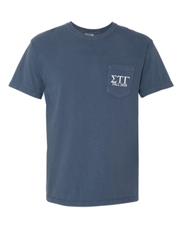 Sigma Tau Gamma Greek Letter Comfort Colors Pocket Tee