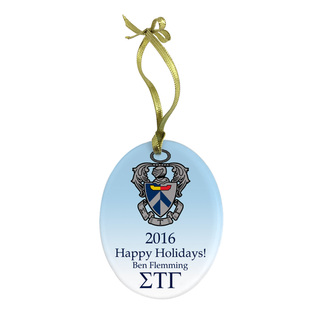 Sigma Tau Gamma Holiday Color Crest - Shield Glass Ornament