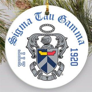 Sigma Tau Gamma Round Christmas Shield Ornament