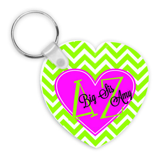 Sorority Big - LIL' Sis Chevron Heart Shaped Keychain