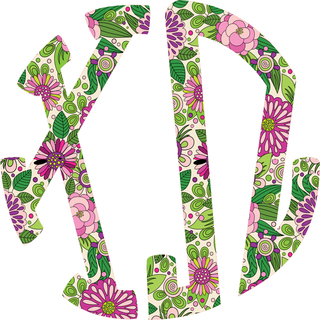 Sorority Floral Monogram Stickers