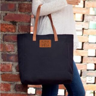 Sorority Leather Patch Black Tote