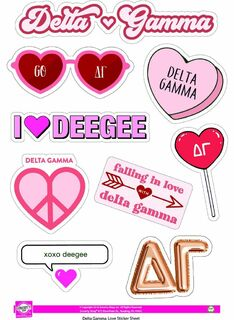 Sorority Love Theme Sticker Sheet