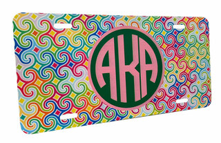 Sorority Metal Swirl License Tag
