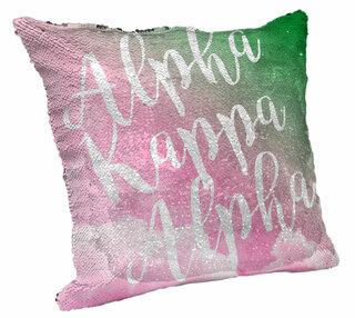 Sorority Rainbow Sequin Throw Pillow Cover
