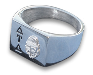 Square Base Silver Fraternity Ring