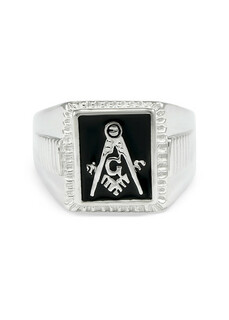 Sterling Silver Mason / Freemason Mason / Freemason Ring With Black Enamel