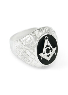 Sterling Silver Mason / Freemason Ring With Black Enamel And Czs