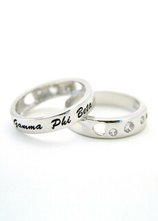 Sterling silver thin-band ring with 3 CZs and enameled cursive writing