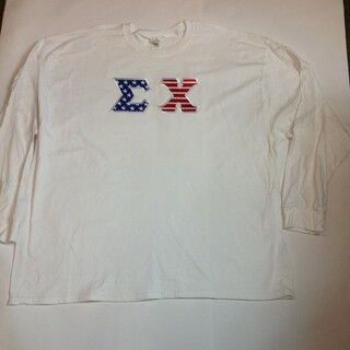 Super Savings - Sigma Chi Long Sleeve Lettered American Tee - WHITE