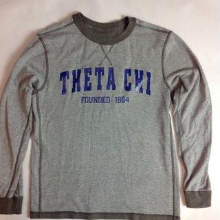 Super Savings - Theta Chi Founders Reversible Crew Sweatshirt - LT GREY/GREY