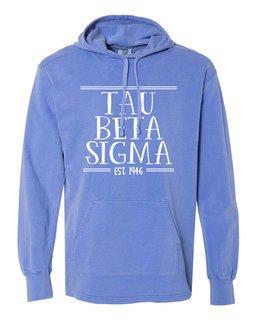 Tau Beta Sigma Comfort Colors Terry Scuba Neck Custom Hooded Pullover