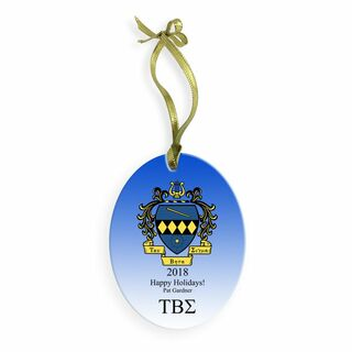 Tau Beta Sigma Holiday Color Crest - Shield Glass Ornament