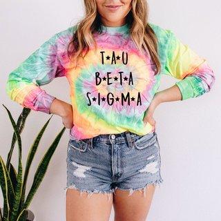 Tau Beta Sigma Tie-Dye Minty Rainbow Long-Sleeve T-Shirt