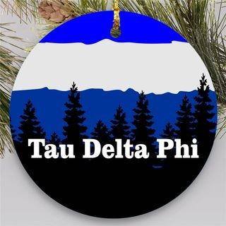 Tau Delta Phi Christmas Mountains Round Ornaments