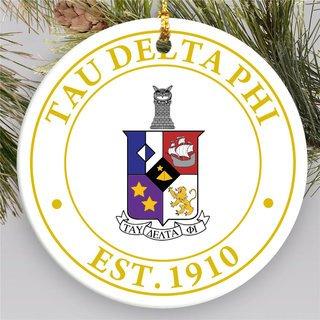 Tau Delta Phi Circle Crest Round Ornaments