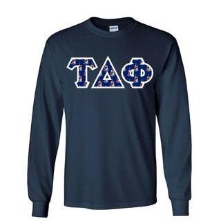 Tau Delta Phi Fraternity Crest - Shield Twill Letter Longsleeve Tee