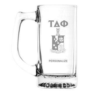 Tau Delta Phi Glass Engraved 25 Ounce Mug