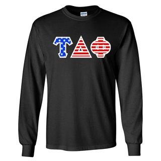 Tau Delta Phi Greek Letter American Flag long sleeve tee