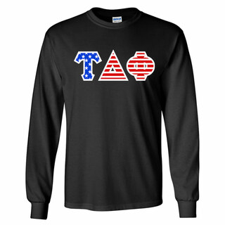 Tau Delta Phi Greek Letter American Flag long sleeve tee